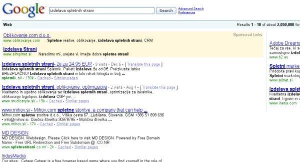 """Google - Pod ključno """"besedo izdelava spletnih strani"""" (1. mesto - Spletnik)"""
