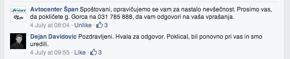 facebook odgovor