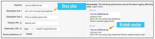 povprečen adwords oglas