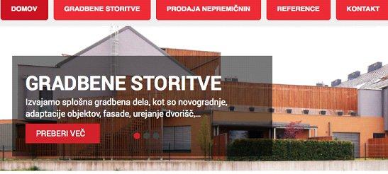 primer spletne strani v gradbenem segmentu