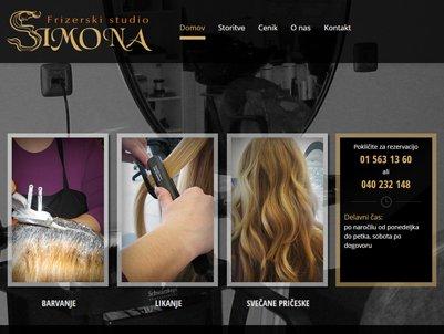 podjetje spletnik je izdelalo spletno stran za frizerski salon simona