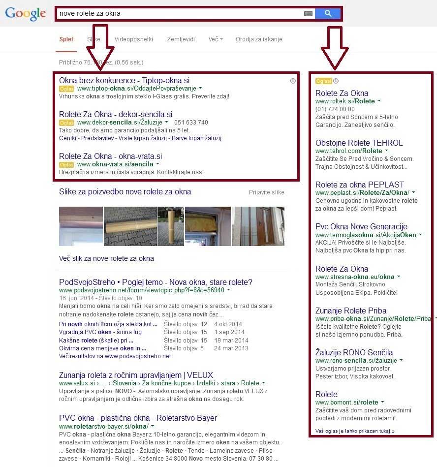 primer google oglasov v iskalniku
