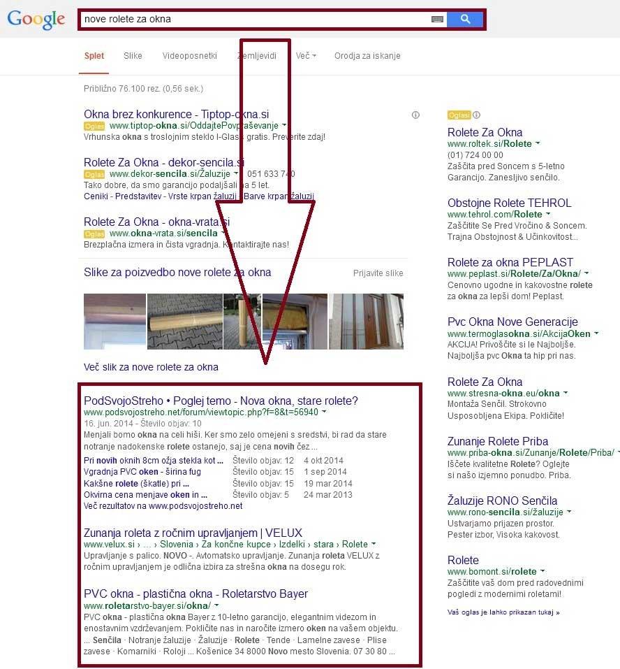 organska umestitev spletne strani na Google iskalniku