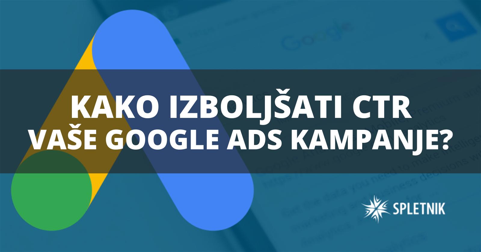 kako izboljšati ctr google oglasov