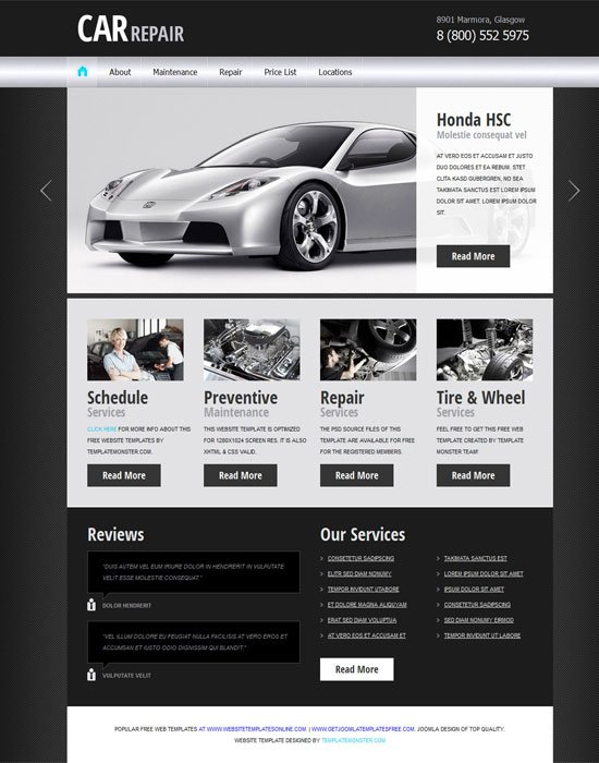 Free-Car-Auto-Project-Website-Template