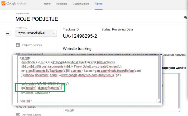 Google analitika in nadzorna plošča Spletnik