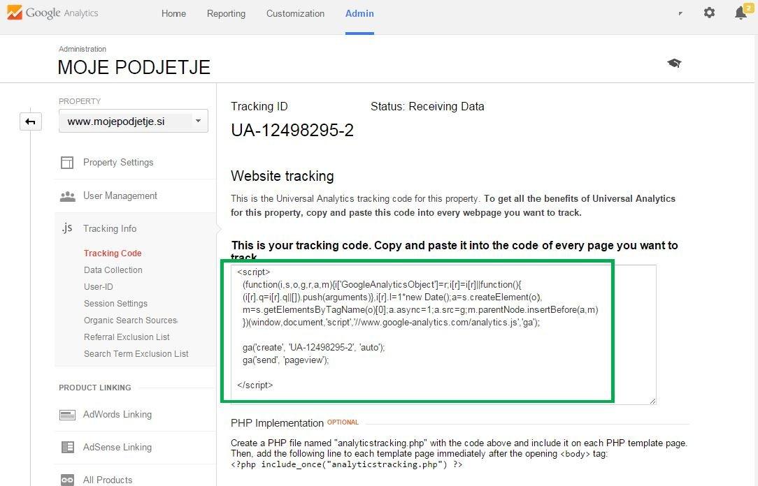 Nastavite kodo za sledenje preko Google Analytics