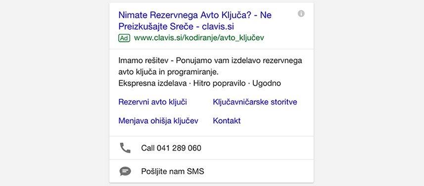 Mobilni oglas z razširitvami
