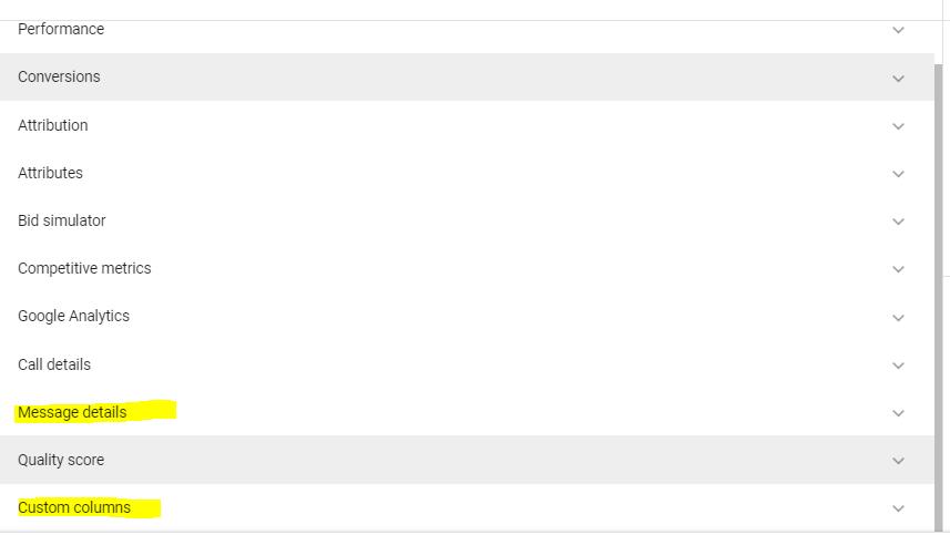 dodaten nabor stolpcev google ads