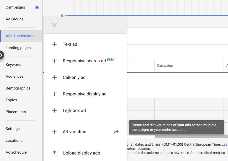 različice google adwords oglasov
