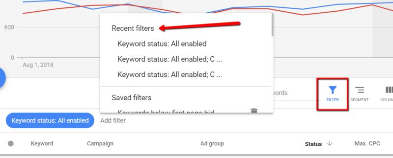 google adwords filter