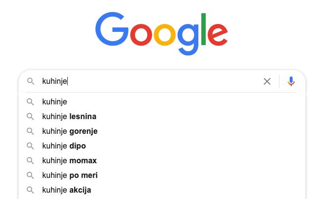 Google iskalnik predlaga prave ključne besede
