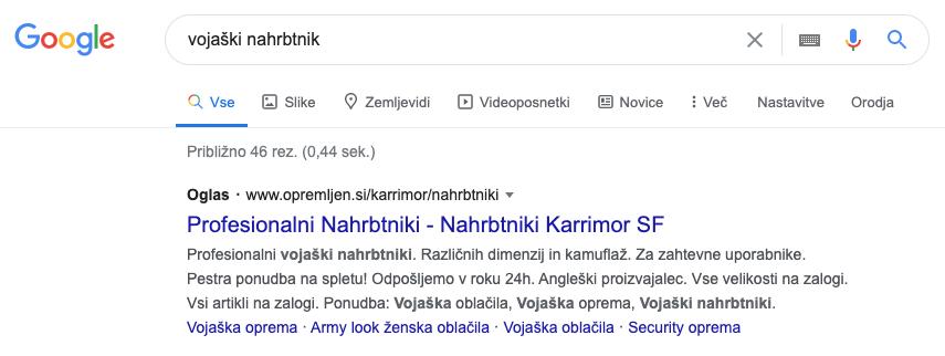 Google ads funkcija omogoča nišno oglaševanje