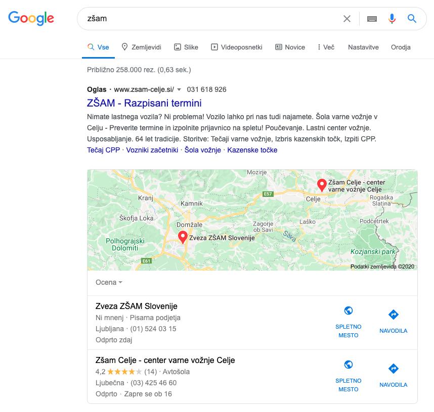 Google ads kampanja na vrhu google iskanj