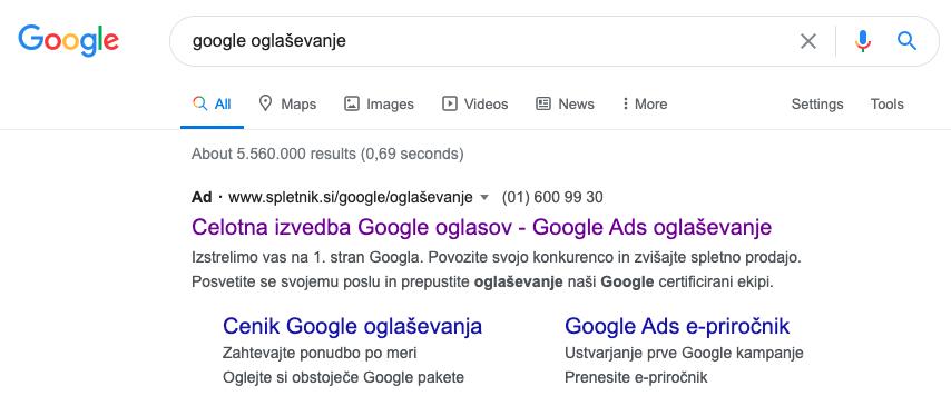 Plačani iskalni rezultati in Google Ads (AdWords) oglaševanje