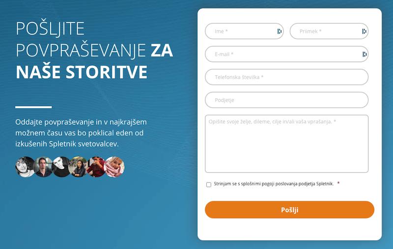 Primer preprostega konktaktnega obrazca na spletnik.si