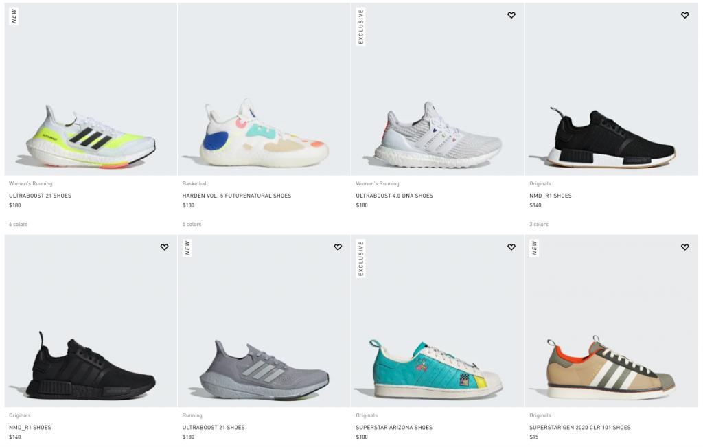 Produkti na adidas spletni strgovini, kategorija ženske superge