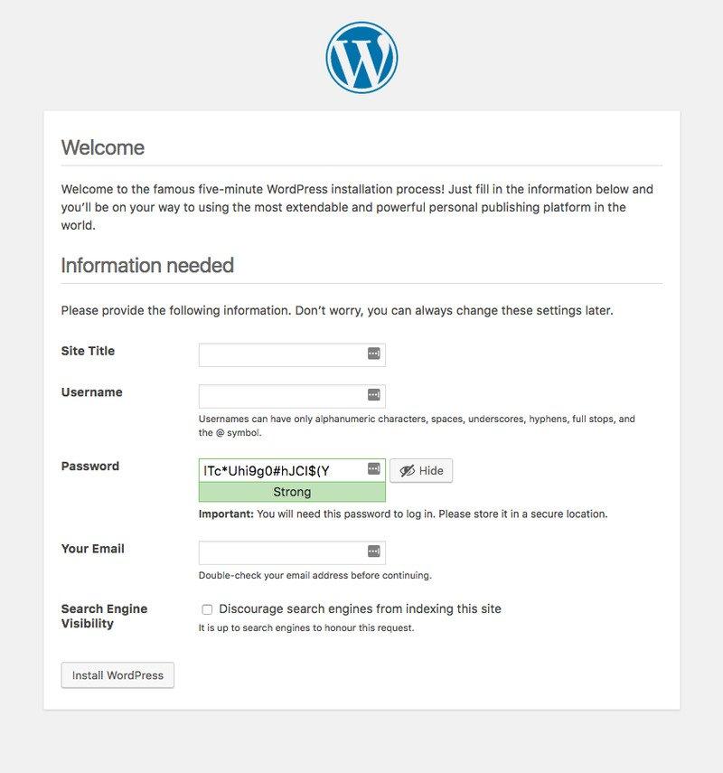 Namestitev WordPress