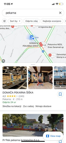 Rezultati GMB v Google Maps