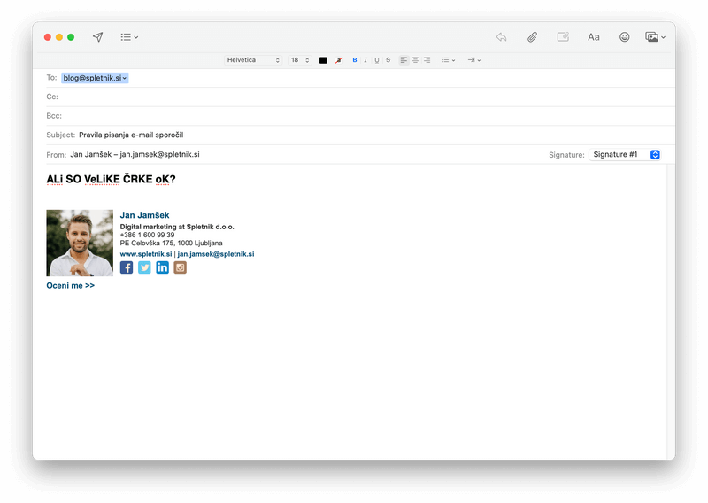 Velike črke v e-mailu